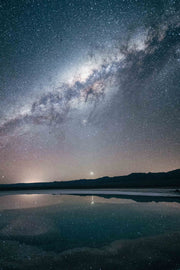 The milky way shines bright in the night sky over a vast, reflective lake.