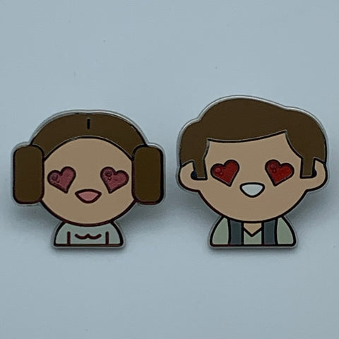 HEART EYES HAN & LEiA CHASE VARiANTS STAR WARS CELEBRATiON 2016 EXCLUSiVE ENAMEL PiN