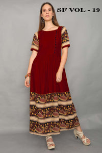 Adhesive Maroon color Gown