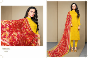 Adhesive yellow color Salwar Suit