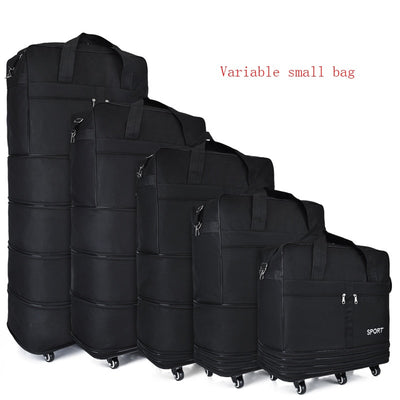Large-capacity Portable Travel Bag Rolling Luggage Can Expand Aviation Checked Bag Mobile Rolling Backpack Oxford Cloth Bag