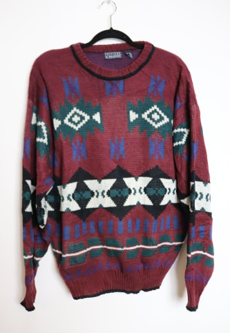 Burgundy Patterned Jumper - L