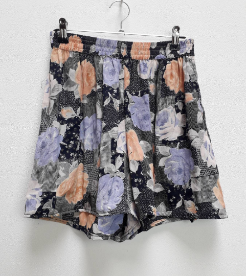 Blue + Pink Floral Shorts - S