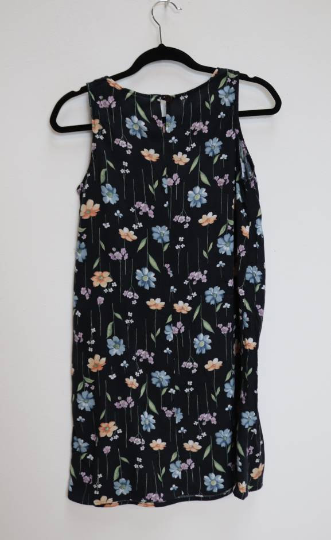 Black Floral Mini-Dress - S