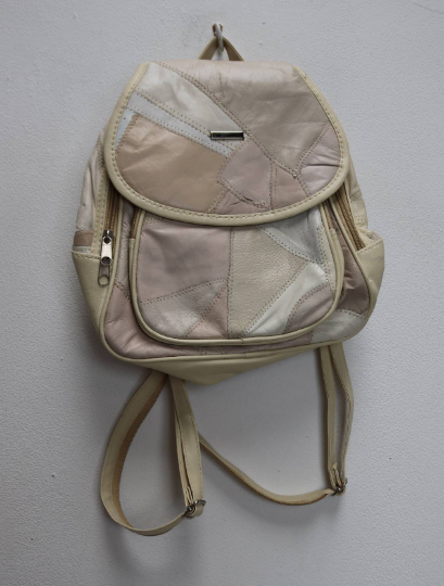 White Patchwork Faux-Leather Backpack