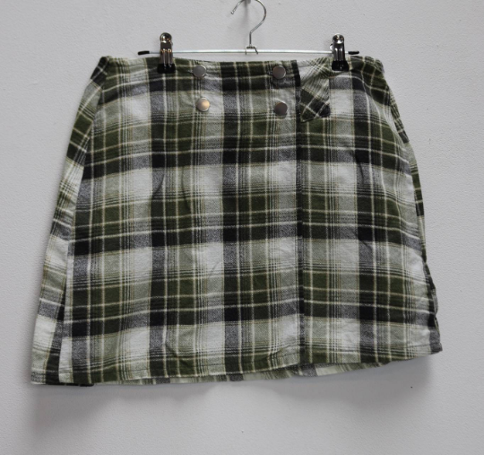 Green Plaid Mini-Skirt - S