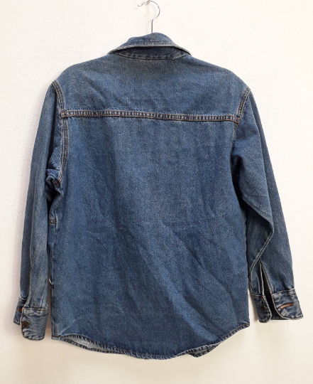 Zip-Up Blue Denim Jacket - M
