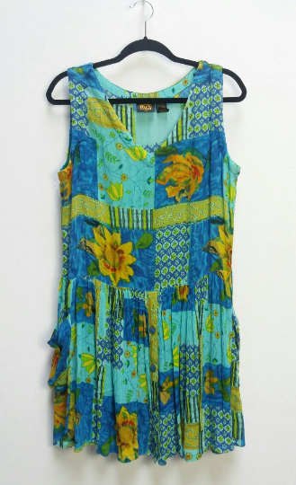 Bright Floral Smock Dress - M