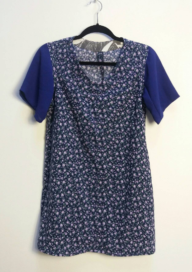 Blue + Purple Floral Dress - S