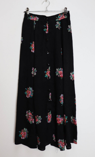 Black Floral Button-Down Midi-Skirt - XS