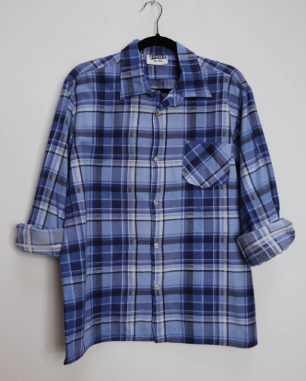 Blue Plaid Flannel Shirt - L