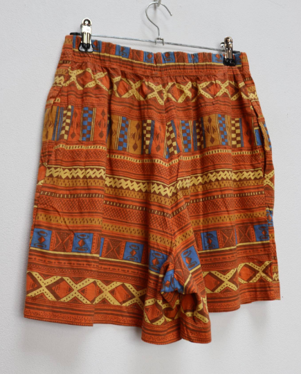 Orange + Blue Geometric Shorts - S