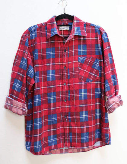 Red + Blue Plaid Flannel Shirt - L