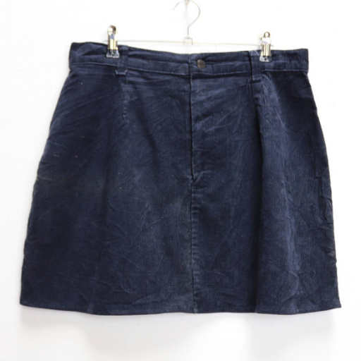 Navy Corduroy Mini-Skirt - L