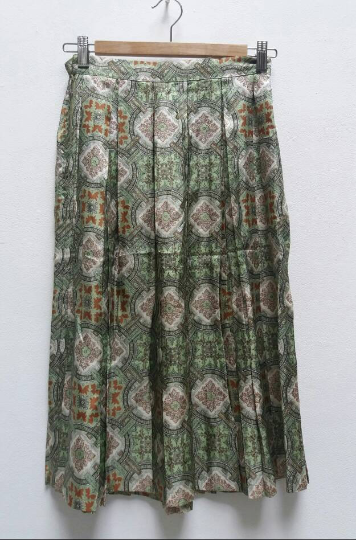 Green Baroque Pleated Skirt - S