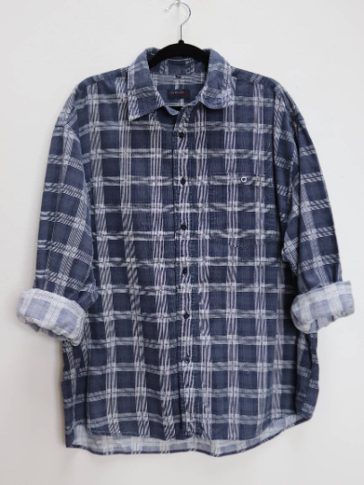 Blue Checkered Corduroy Shirt - XXL
