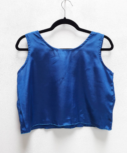 Blue Silk Crop Top - M