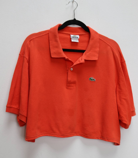 Orange Lacoste Cropped Polo - XXL