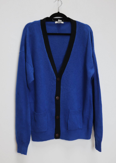 Blue Wool Cardigan - XL
