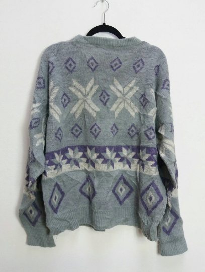 Grey + Purple Fairisle Jumper - XL