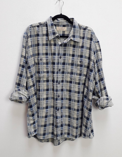 Blue Plaid Corduroy Shirt - XXL