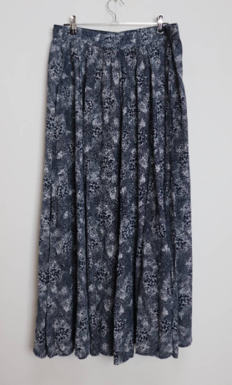 Navy Blue Floral Button-Down Midi-Skirt - L