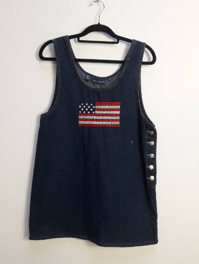 American Flag Embroidered Denim Pinafore Dress - M