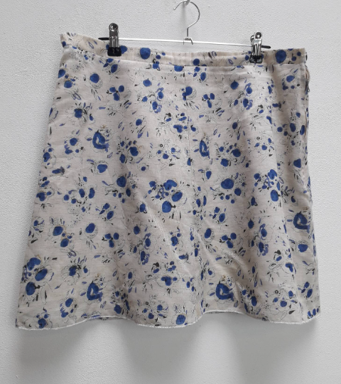 Blue + White Floral Mini-Skirt - L