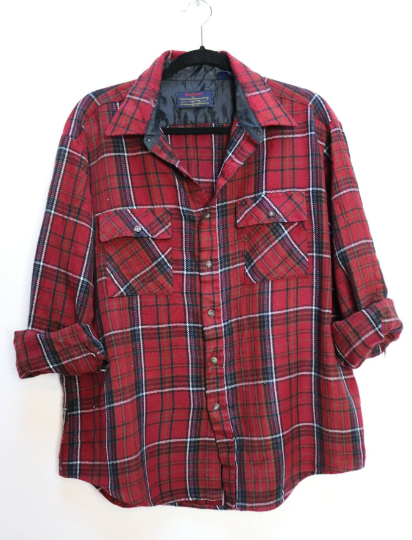 Red Plaid Flannel Shirt - XL