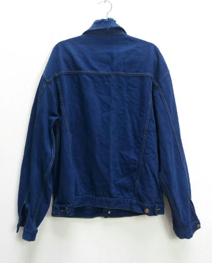 Blue Denim Jacket with Ripped Collar - XL
