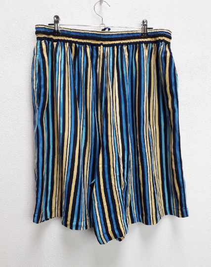 Blue + Brown Stripe Shorts - L
