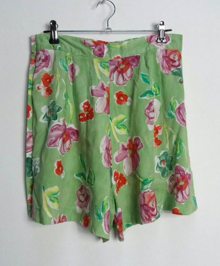 Green + Pink Floral Shorts - S