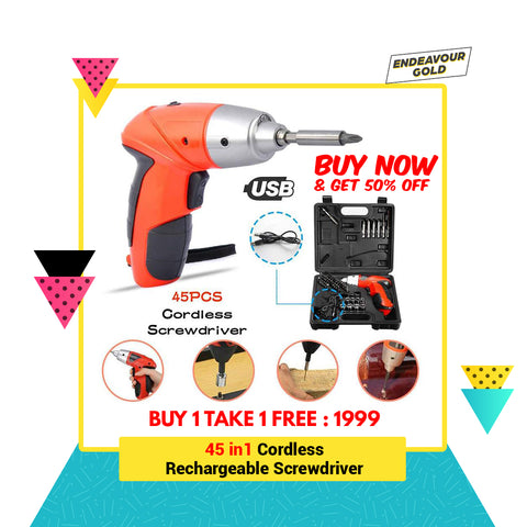 45pcs-in-1 Cordless Rechargeable Screwdriver (FLASH SALE JAN 26-31, 2020)