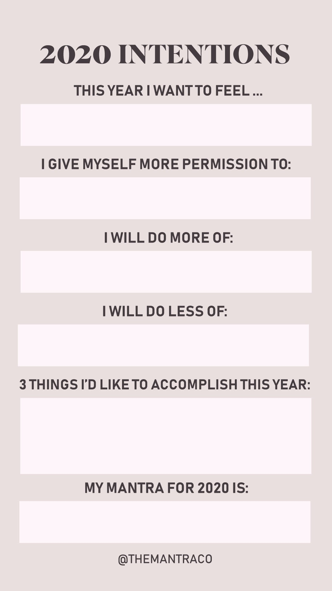 2020 intentions ig template