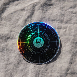 Holographic Zodiac Wheel Sticker (Black)