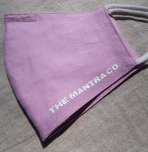 Load image into Gallery viewer, The Mantra Co. Linen Face Mask (Lavender)