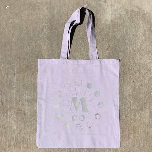 Moon Phase Reflective Tote Bag (Lavender)