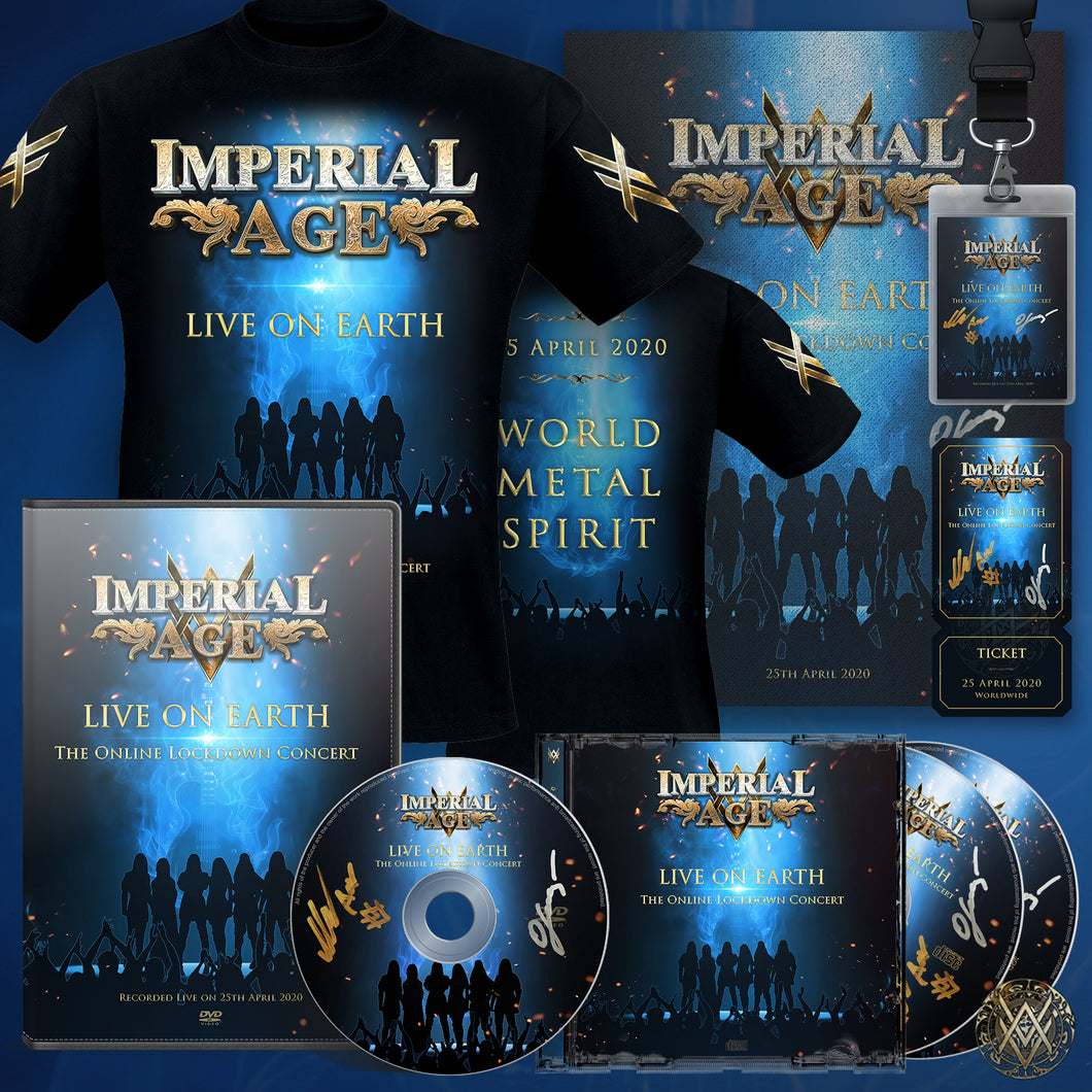 Live on Earth BUNDLE #1: DVD + Double audio CD + Laminate + Ticket + Poster (all signed) + T-Shirt + Digital Download