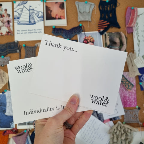 Thank You Cards held against a Swatch Board