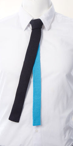 Black/Turquoise Contrast Back Skinny Tie
