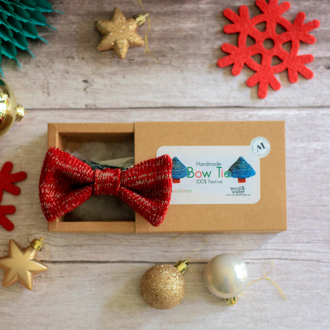 Knitted Christmas Bow Tie