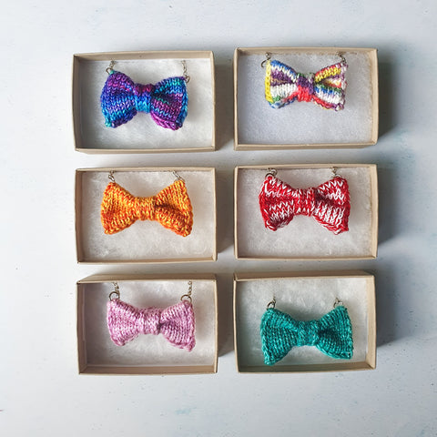 6 Mini Bow Tie Necklaces