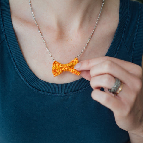 Orange Mini Bow Tie Necklace