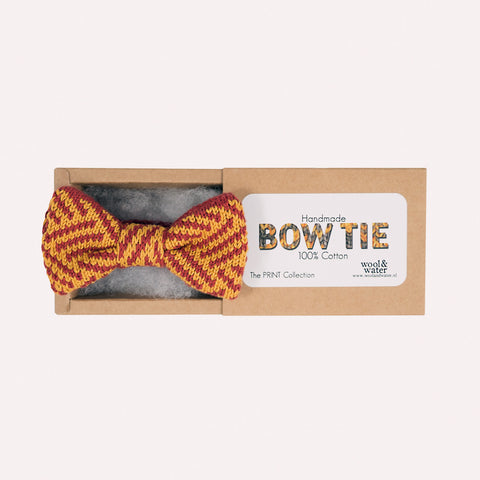 Bow Tie: Mustard and Burgundy Pattern