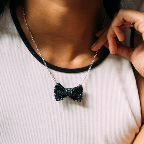 Sparkly Black + Silver Mini Bow Tie Necklace