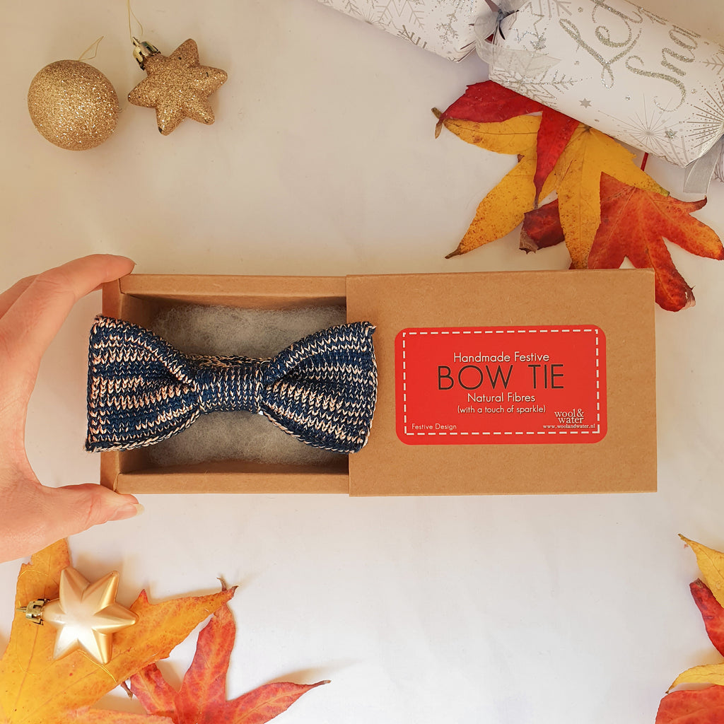 Great Gatsby Blue Sparkly Bow Tie