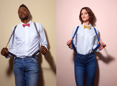 Models in Wool & Water Bow Ties and Suspenders