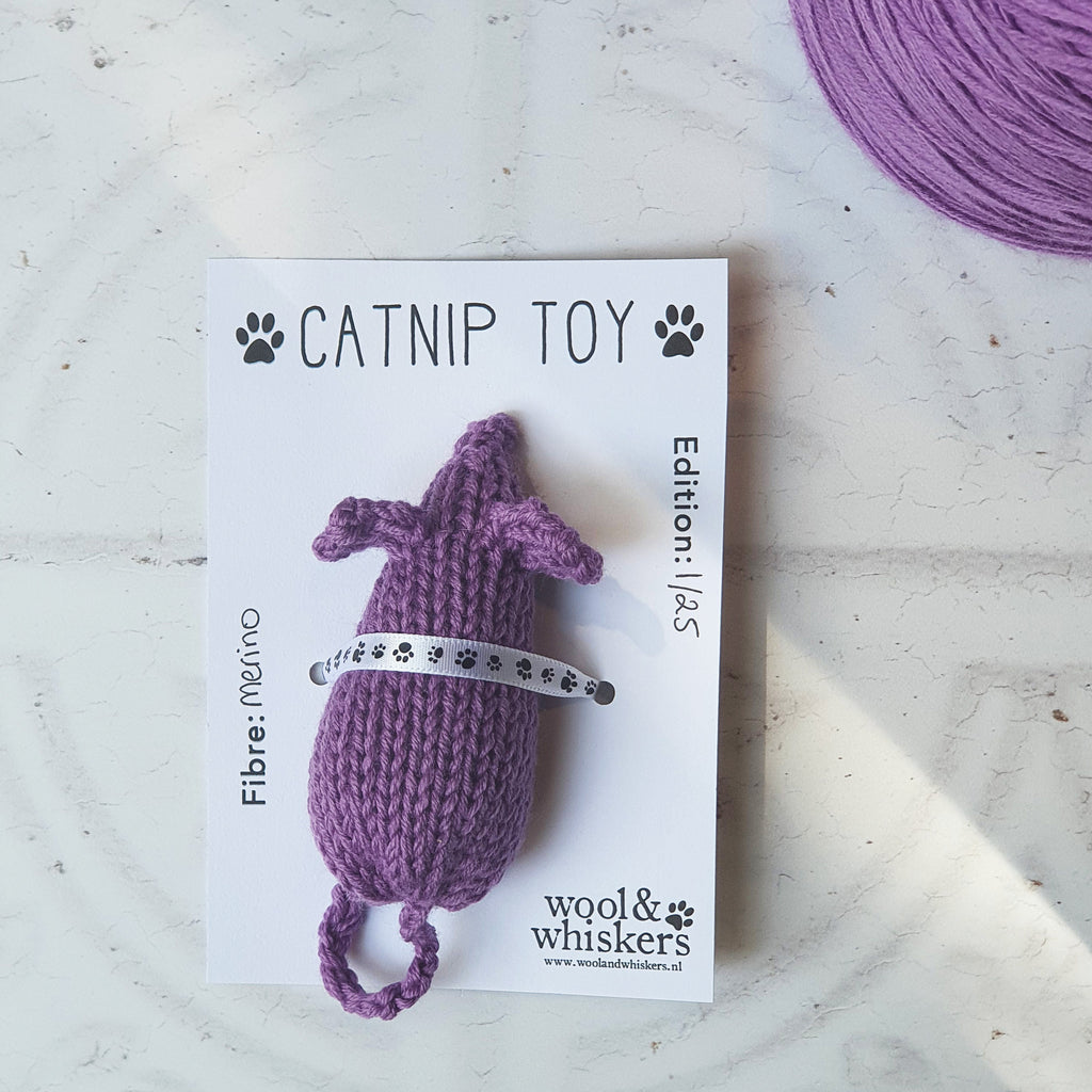 Catnip Toy Mouse on Packaging with Cone of Yarn