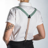 Suspenders / Bretels: Green and Pink
