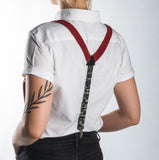 Suspenders / Bretels: Red and Black/Cream